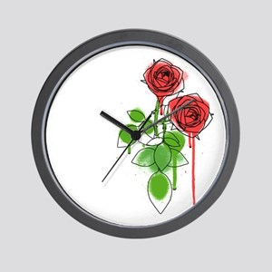 Graphiti Roses Wall Clock