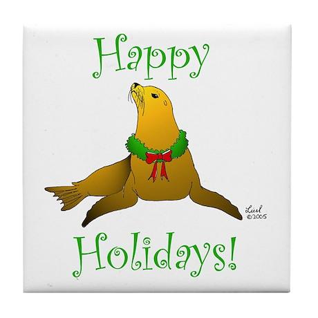 Christmas Sea Lion Tile Coaster