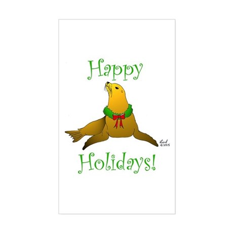 Christmas Sea Lion Rectangle Sticker