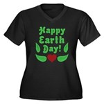 Happy Earth Day Women's Plus Size V-Neck Dark T-Sh