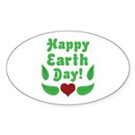 Happy Earth Day Oval Sticker (10 pk)