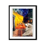 Cafe / Great Pyrenees Framed Panel Print