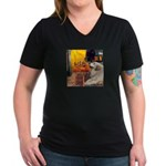 Cafe / Great Pyrenees Women's V-Neck Dark T-Shirt