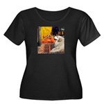 Cafe / Great Pyrenees Women's Plus Size Scoop Neck