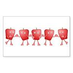 Apple Row Rectangle Sticker 50 pk)