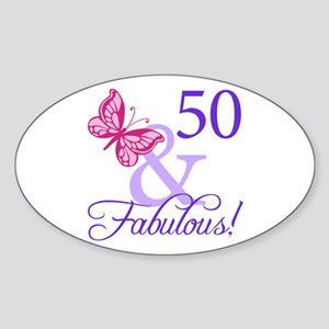 50 And Fabulous Birthday Gifts Sticker (Oval)