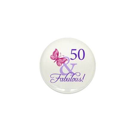 50 And Fabulous Birthday Gifts Mini Button (100 pa