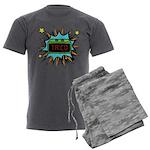 Taco Time - Blue Men's Charcoal Pajamas