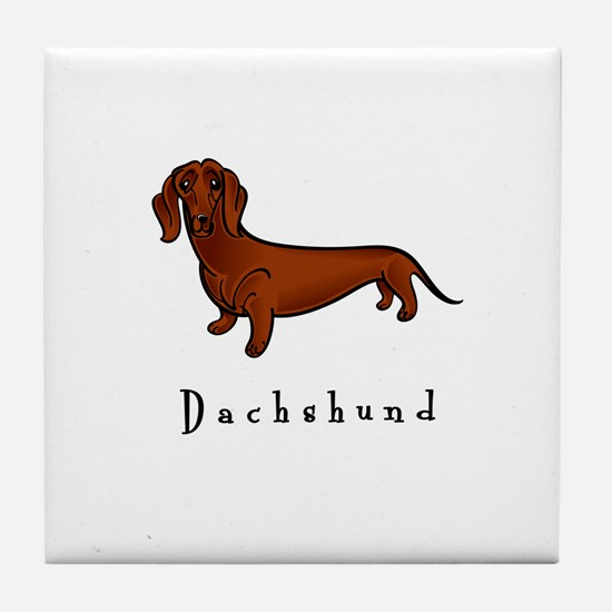 Dachshund Illustration Tile Coaster