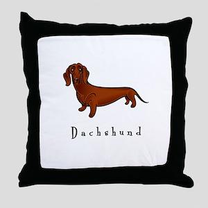 Dachshund Illustration Throw Pillow