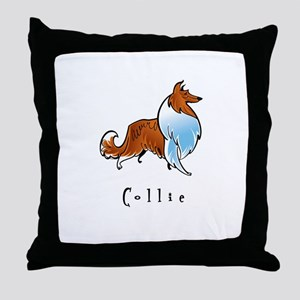 Collie Illustration Throw Pillow