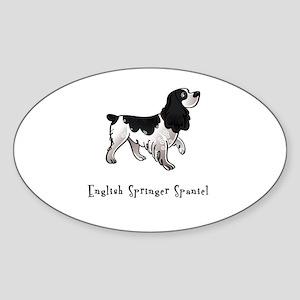 English Springer Spaniel Illustrated Sticker (Oval