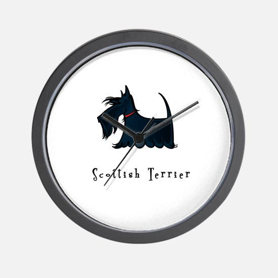 Scottish Terrier Illustration Wall Clock