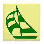 Green Sailboat Tile Coaster