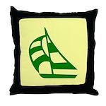 Green Sailboat Throw Pillow