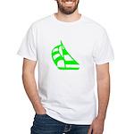 Green Sailboat White T-Shirt