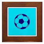 Blue Soccer Ball Framed Tile