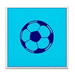 Blue Soccer Ball Tile Coaster
