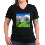 California Spring Women's V-Neck Dark T-Shirt