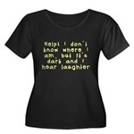 Help! Women's Plus Size Scoop Neck Dark T-Shirt