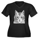 Cat Totem Women's Plus Size V-Neck Dark T-Shirt