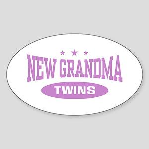New Grandma Twins Oval Sticker