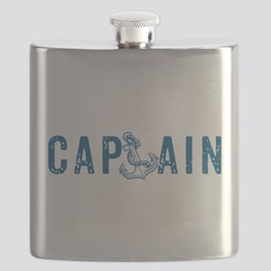 Navy-blue nautical anchor and text-Captain Flask