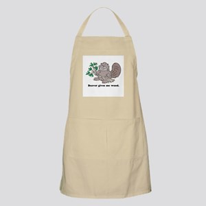 Beaver gives me Wood BBQ Apron