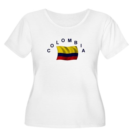 Colombia Flag Women's Plus Size Scoop Neck T-Shirt