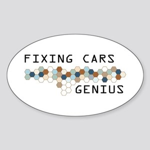 Fixing Cars Genius Oval Sticker