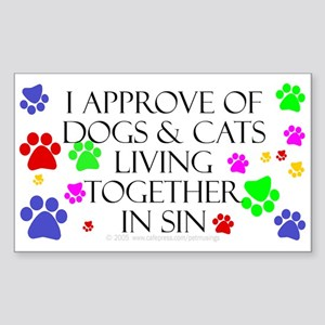 Pets living in sin Rectangle Sticker