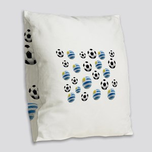 Uruguay Soccer Balls Burlap Throw Pillow