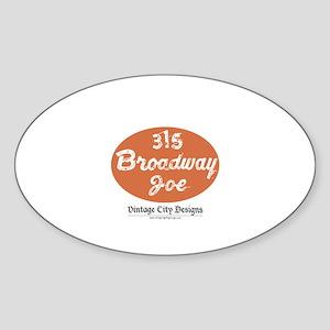 Broadway Joe Oval Sticker (50 pk)