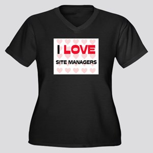 I LOVE SITE MANAGERS Women's Plus Size V-Neck Dark