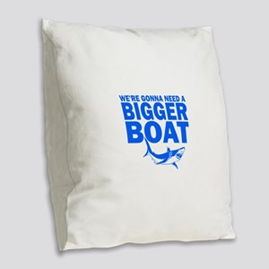 BiggerBoatJaws Burlap Throw Pillow