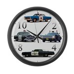 Police Car Montage Large Wall Clock