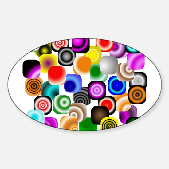 Unique Abstract squares Sticker (Oval)