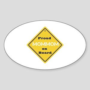 Proud Mom Mom on Board Oval Sticker