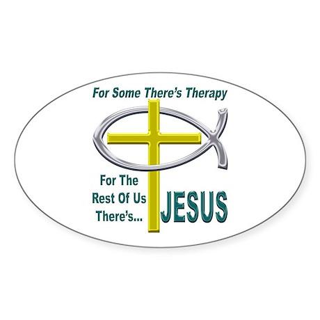 Jesus Therapy Oval Sticker