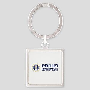 USAF: Proud Grandparent Square Keychain