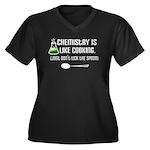 Chemistry Cooking Women's Plus Size V-Neck Dark T-