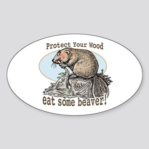 Eat Some Beaver Oval Sticker