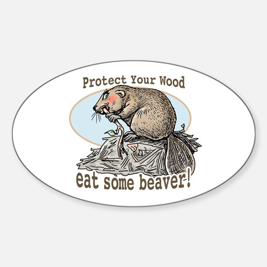 Eat Some Beaver Oval Decal