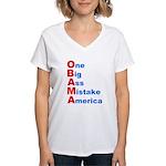 One Big Ass Mistake America Women's V-Neck T-Shirt