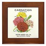 Vintage Carnation Seed Label Framed Tile