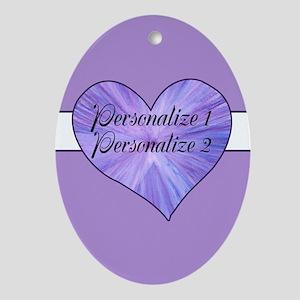 Personalized Purple Heart Oval Ornament