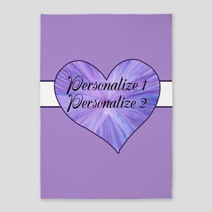 Personalized Purple Heart 5'x7'Area Rug