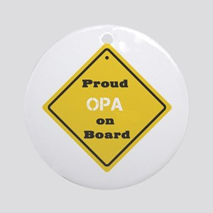 Proud Opa on Board Ornament (Round)