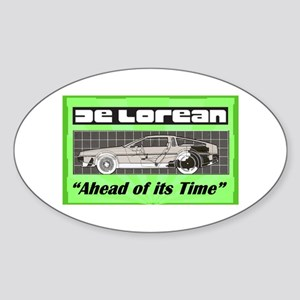 """DeLorean-Ahead of its Time"" Oval Sticker"