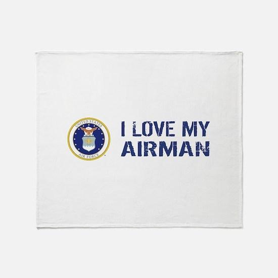 USAF: I Love My Airman Throw Blanket